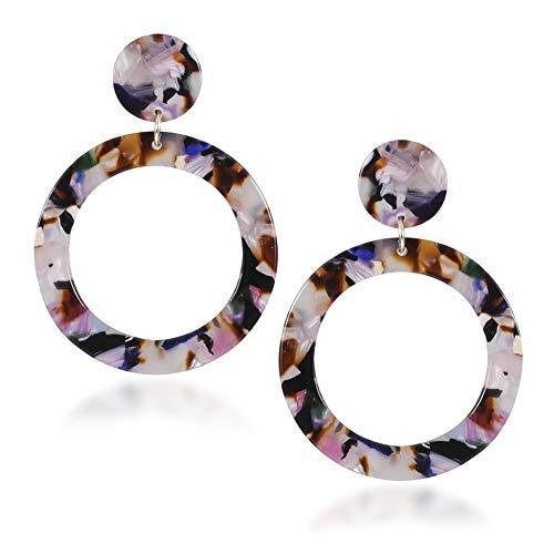 Fashion Floral Acrylic Drop Dangle Earrings for Women Bohemian Resin Statement Hoop Earrings ()