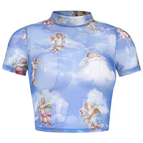 Angels Print T-shirt - Women's Summer Crop Tops Sexy See Through Cupid Print Sheer Mesh Crop T Shirt Blue