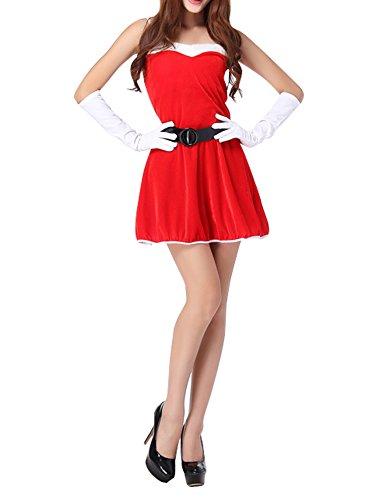 [Womens Velvet Belted Santa Christmas Dance Dress Sweetheart Costume Red 5] (Dance Hire Costumes)