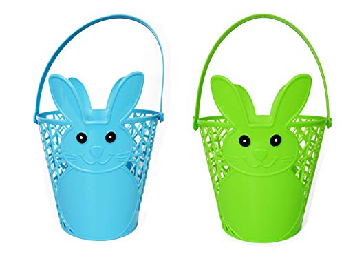 Set of 2 Easter Bunny Baskets! Perfect for Decor and Gifts! Comes in 5 Fun Colors! (Assorted Bunny Baskets, 2)