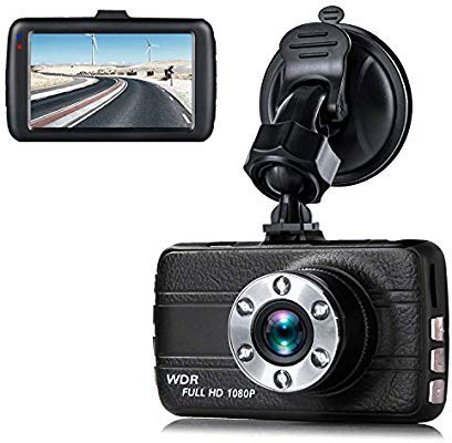 Dash Cam,EVASA 150° Wide Angle Full HD 1080P with G-Sensor,Night Vision,WDR,Loop Recording,3.0″ LCD Dashboard Camera Recorder (Black)