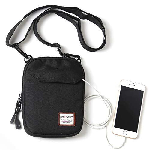 Mini Crossbody Bag Small Shoulder Bag For Men Travel Wallet Passport Holder Phone Purse Unisex, Mini Messenger Bag For Women Neck Pouch Bag With Headphone Jack - Black (Crossbody Bag Built In Wallet)