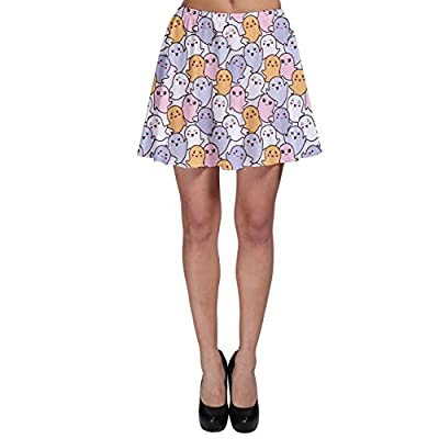CowCow Womens Colorful Kawaii Cartoon Pattern Cute Ghosts Skater Skirt