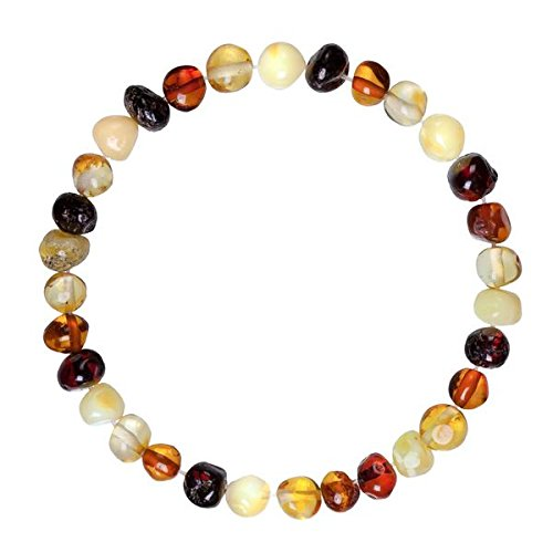 (Adult Baltic Amber Bracelet (Unisex, Multicolor, 7.5 Inches) Lab-Tested 100% Certified Baltic Amber - Natural Pain Relief & Anti-Inflammatory For Migraine, Sinus, Arthritis & More)