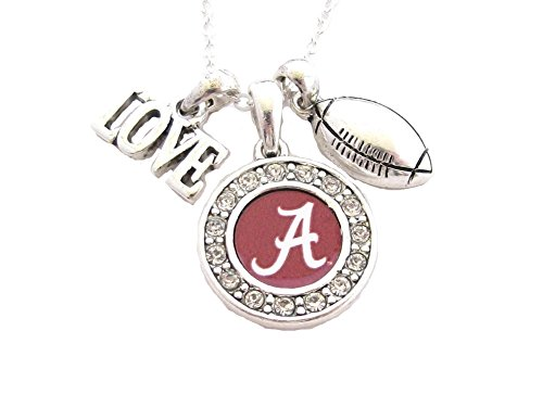 Alabama Crimson Tide UA Multi Charm Love Football Red Necklace Jewelry