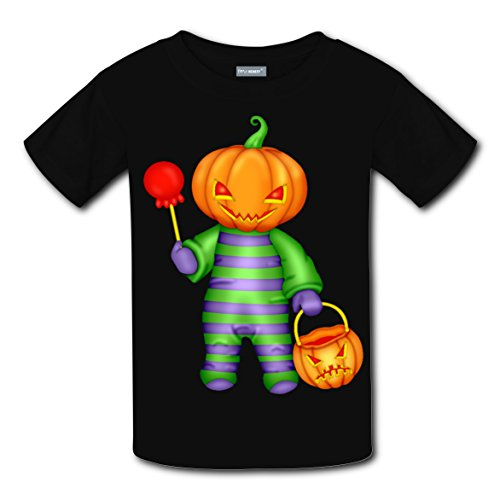 Pumpkin Clowm Coustom Unisex Kids Soft T-Shirts Black Short Sleeve Tee for Boys (Halloween Coustoms)
