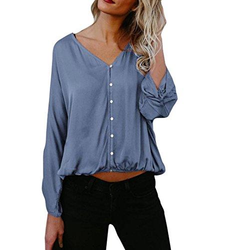 ZEZKT Damen Bluse Modern-Fit Freizeit Hemd Longshirt Baumwolle Button-Down Tunika Knopf Übergröße Bluse Tops Einfarbig Casual Reizvolle Revers Schlank V-Ausschnitt Hemd Druckknopf Blau
