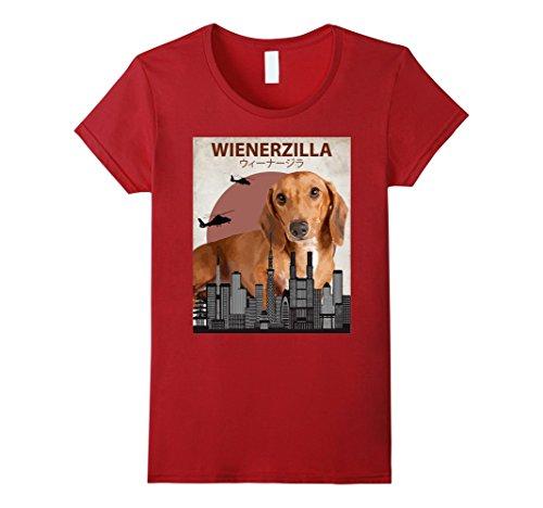 Funny Weenie Dog Costumes (Womens Wienerzilla Funny Wiener Dog T-Shirt | Dachshund Lovers Gift Large Cranberry)