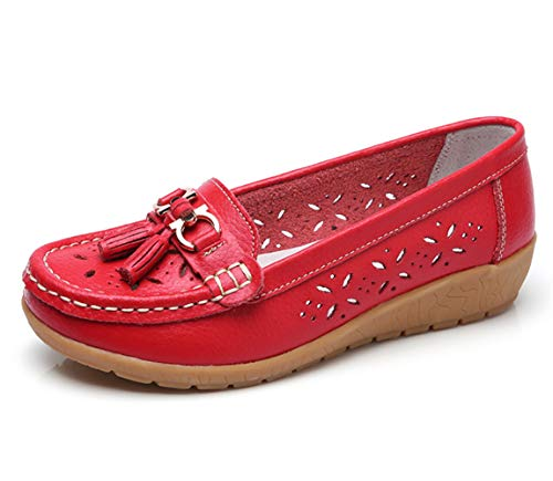 Women Loafers Leather Oxford Slip On Walking Flats Anti-Skid Boat Shoes (6 M US, W-Red)