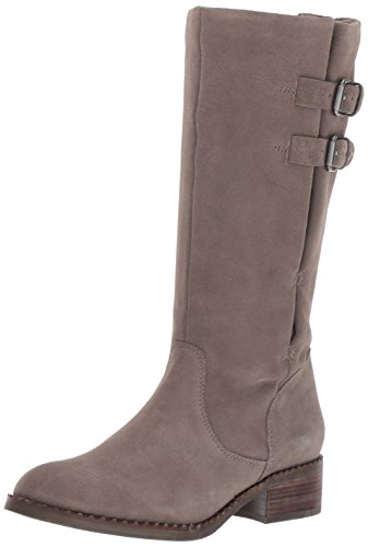 Gentle Souls by Kenneth Cole Women's Brian Mid-calf Boot with Buckle Detail Angled Topline Suede Harness Boot, concrete, 7 M US (Gentle Souls Best Of Moto Boot)