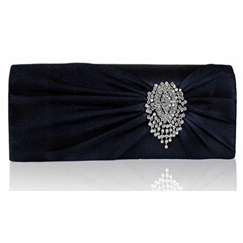 TrendStar - Cartera de mano para mujer azul - Navy Flower Crystal Clutch