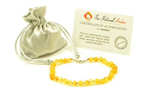 Genuine Raw Baltic Amber Adult Anklet, Adjustable 7.5~9.5inches (19-24cm) (Raw Lemon)