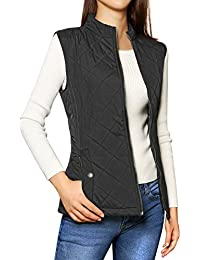Allegra K Woman Stand Collar Zip Up Front Gilet Quilted...