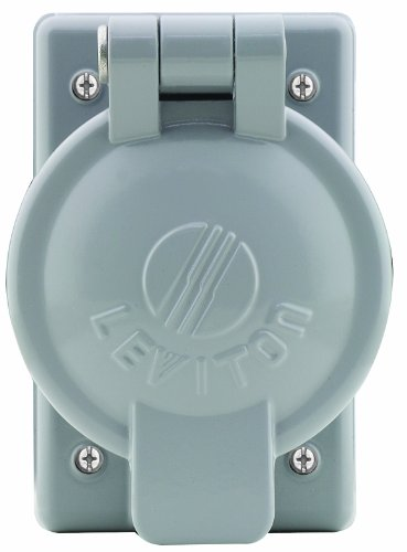 Leviton 7770 Single Gang Cover Plate For 50A Single Receptacles, Cast Aluminum with Lift Cover For Wet Location with Cover (Single Gang Enclosure)
