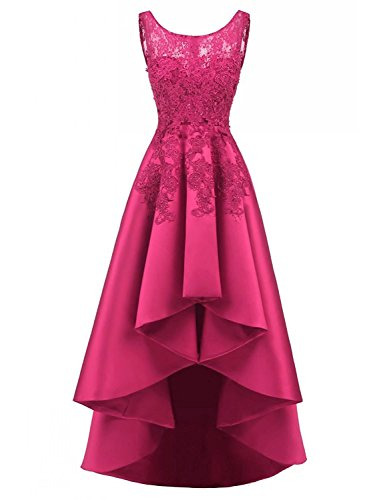 (LOVING HOUSE Women's Beading Lace Wedding Party Dress Hi-lo Satin Prom Dress Evening Gowns Formal P019 Hot Pink 4)