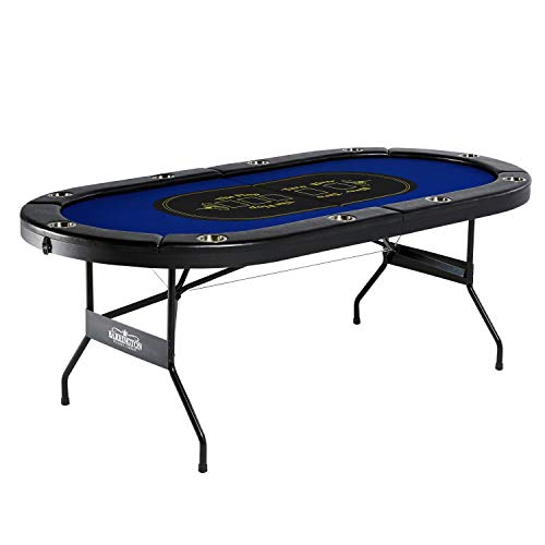 Barrington Texas Holdem Poker Table for 10 Players with Padded Rails and Cup Holders - No Assembly Required (Billiard Tablecloth Table Accessories)
