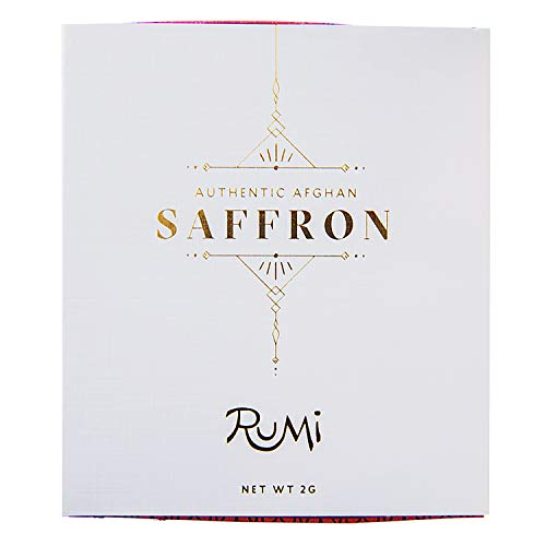 Rumi Spice Saffron, Handpicked in Afghanistan, Highest Rated World-wide, Afghan Seasoning Sweet Savory, Taste of Luxury, Great with Vegetables, Soups, Rice, Chicken, Curry, Paella, Dessert - 2 g (Best Quality Saffron In The World)