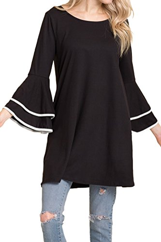 Bell Sleeves Tunic (iconic luxe Women's Hight Quality Knit Bell Sleeve Tunic Top With Binding Detail X-Large Black)