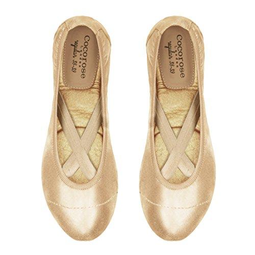 Cocorose Foldable Shoes - Royal Ballet Ladies Ballet Pumps Soho (Gold) BXEcdeQlan