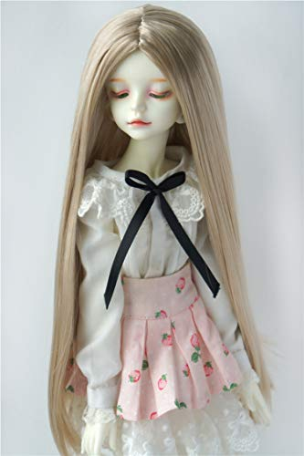 JD016 7-8'' 18-20CM Long Forest Straight Doll Wigs MSD 1/4 Synthetic Mohair BJD Doll Accessories (Beige ()