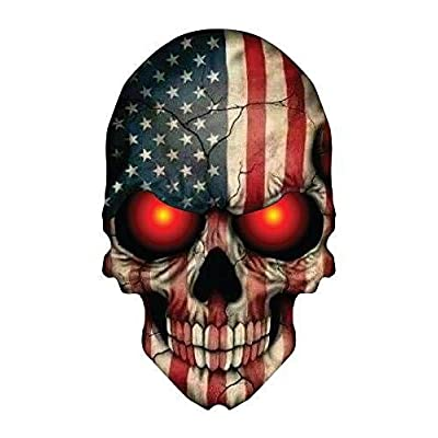 Sticker Skull Skeleton Devil Demon American Flag USA Military Support Decal size 6 x 4 inch: Kitchen & Dining
