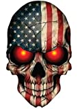 Sticker Skull Skeleton Devil Demon American Flag USA Military Support Decal size 6 x 4 inch