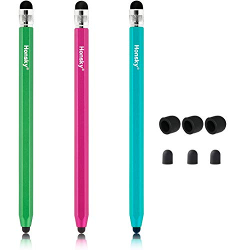 Honsky Styluses, Universal Sensitive Pencil-like Metal Capacitive Pens for Touch Screen, Compatible with iPad iPhone Samsung LG Android Cell Phone Tablets (Blue,Hot Pink, Green) – Six Sided, 3 Packs by Honsky