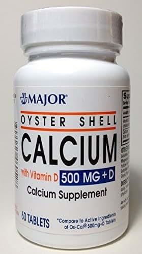Major Oyster Shell Calcium 500MG Plus D CHOLECALCIFEROL-200 Units Green 60 Tablets UPC 309045460528