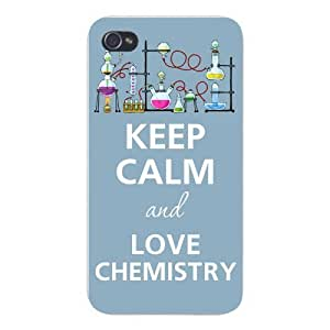 Apple Iphone Custom Case 4 4s White Plastic Snap on - Keep Calm and Love Chemistry w/ Lab Beakers & Chemicals