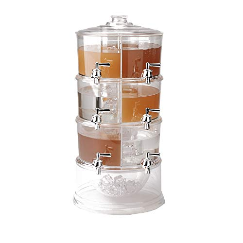 Acrylic Drink - Mind Reader BEVD6C-CLR Dispenser, 3 Tier Stackable Drink Holder with Lids, Acrylic 6 Compartment Beverage Display with Spigots, Clear, One Size,