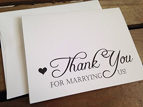 - Thank You for MARRYING US - To Officiant - Wedding Day - Note Card - Eco White - RUSTIC - Recycled - Eco Friendly