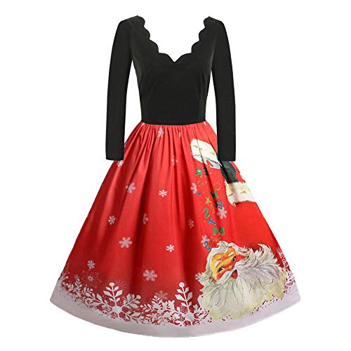 Christmas Womens Vintage Plus Size Evening Party Dress Ladies Long Sleeve Santa Claus Printing Swing Dress