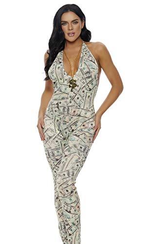 Forplay Money Print Jumpsuit with Adjustable Haltered Tie -