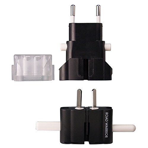 ROAD WARRIOR Travel Power AC Plug Adapter EU/UK/AU/US/IN, Designed in JAPAN - RW101BK-US [Black]