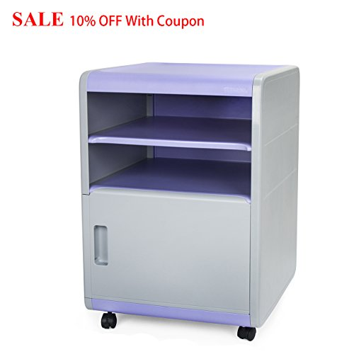 FINE DRAGON 3-Drawer Plastic Combination Lock Mobile File Cabinets Security Night Stand/Accent Table (Purple C1) (File Nightstand Cabinet)