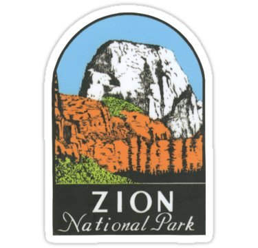 Vintage Travel Decal - Zion National Park Utah UT State Vintage Travel Decal - Sticker Graphic - Auto, Wall, Laptop, Cell, Truck Sticker for Windows, Cars, Trucks