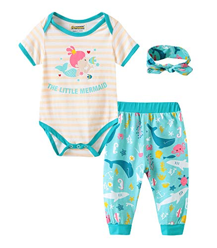 Fiream Baby Girls Clothes Infant Romper Bodysuit + Headband 3pcs Fashion Outfits Set(BA0302,6-9M) ()