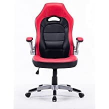 Executive Swivel PC Gaming Racing Desk Chair PU Leather High-Back Computer Office Chair for Adults/Kids Red with Black, Thick Padded Flip Up Armrest, Comfortable Seat with 5 Wheels Nylon Base (Red)