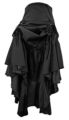 Gothic 28 8 Long Purple Ruched Victorian Dangerousfx Corset Steampunk Skirt Burgundy Black f7qxRH