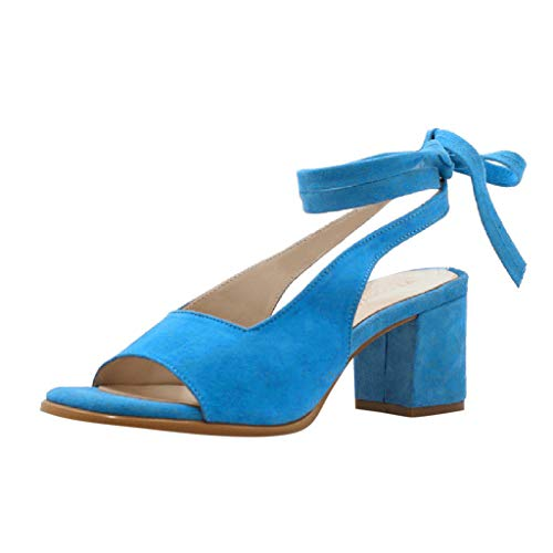 Orangeskycn Women Sandals Retro Fashion Fish Mouth Casual Rome Ankle Strap Peep Toe Bandage Sandals Square Heels Shoes Blue ()