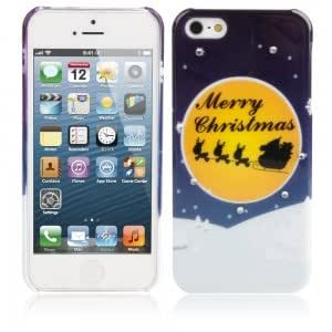 Christmas Series Rhinestone Protective Case for iPhone 5/5S Yellow Moon