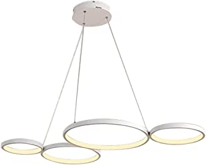 LED Pendant Lamp Dimmable with Remote Control Chandelier 46W Modern 4 Ring for Livingroom Kitchen Island Dining Room Table Bedroom Bar Office,Black
