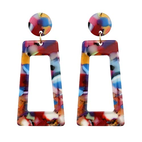 Acrylic Earring Hook Marble Sweety Texture Lightweight Resin Alloy Hoop Clearance Earring for Girls Ladies(Multicolor)