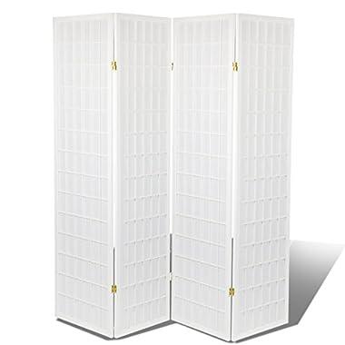 High Quality Oriental Room Divider Hardood Shoji Screen (White, 4-Panel)