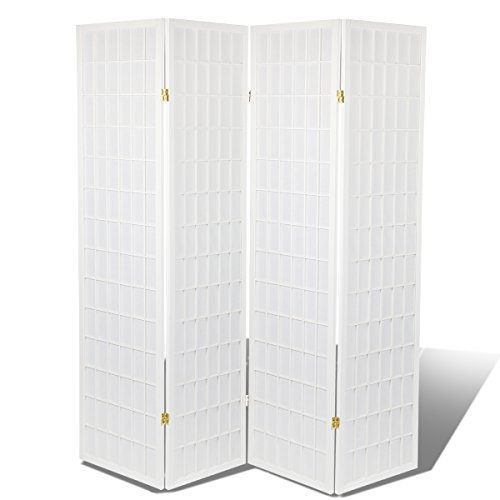 Magshion Oriental Room Divider Hardwood Shoji Screen 4 Panel White Rice Paper