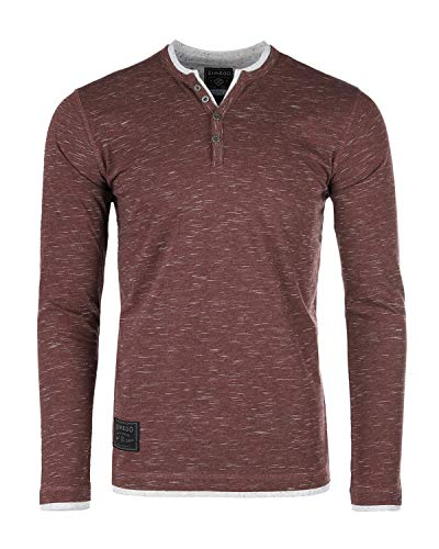 ZIMEGO Mens Long Sleeve Double Layered V-Neck Fashion Henley with Button Placket ()