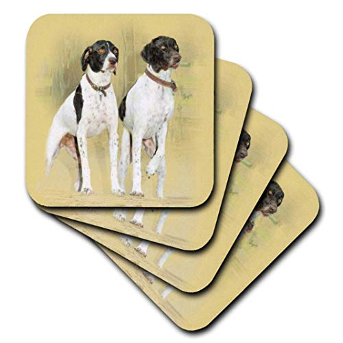 - 3dRose Two Pointer Hunting Dogs at Attention. Digital Oil Painting - Ceramic Tile Coasters, Set of 4 (CST_36129_3)