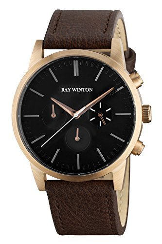 Ray Leather - Ray Winton Men's Chronograph Black Dial Brown Suede Leather Strap Polished Gold Steel Case Watch
