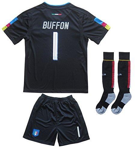 Goalkeeping Short - FCW 2018 Italy Home #1 Gianluigi BUFFON Football Futbol Soccer Kids Goalkeeper Jersey Shorts Socks Set Youth Sizes (Black, 12-13 YEARS)