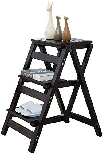 XITERTE Banquetas Plegables Escalera Plegable 3 Pasos Negro Ligero y Plegable for Adultos y Niños for la Biblioteca Loft Cocina decoración del hogar de Madera - 150 kg de Capacidad: Amazon.es: Hogar